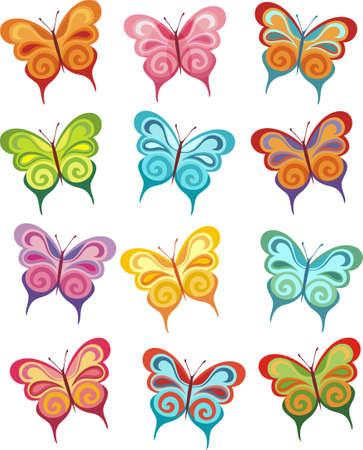 butterfly cartoon: butterfly set