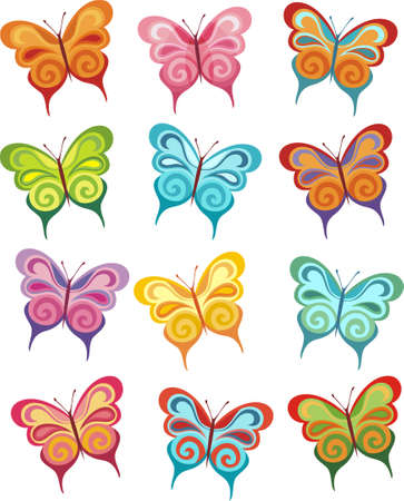 tekening vlinder: vlinder set  Stock Illustratie