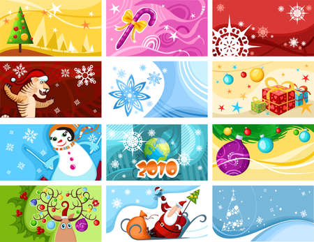 Vector illustration of a christmas card set