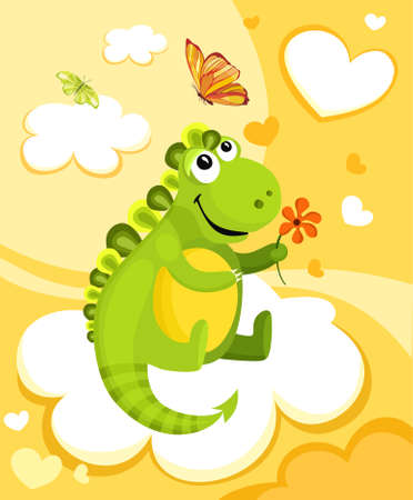 christmas dragon: illustration of a cute dinosaur Illustration