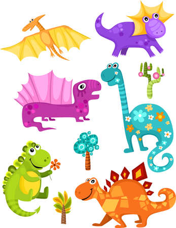 illustration of a cartoons dinosaur set Stock Vector - 5901116