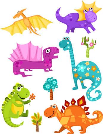dinosaurio: Ilustraci�n de un conjunto de dinosaurio de dibujos animados