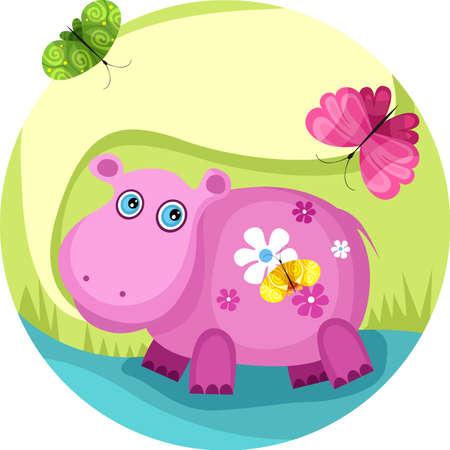 picture postcards: hippopotamus Illustration