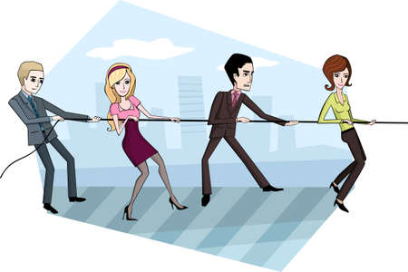teamwork together: business team Illustration
