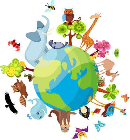 happy planet earth: planeta animal Vectores