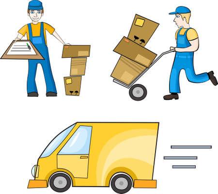 man carrying box:  delivering set Illustration