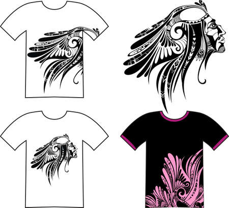 native american art: tshirt set Illustration