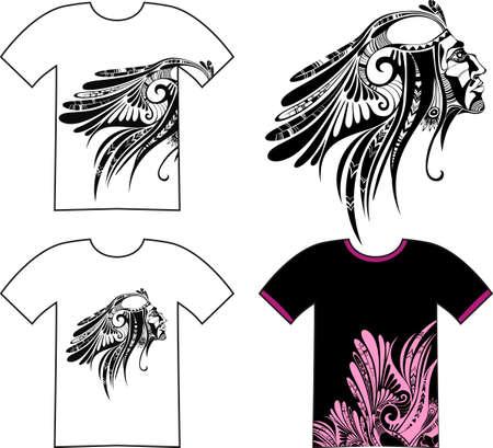 native american: tshirt set Illustration