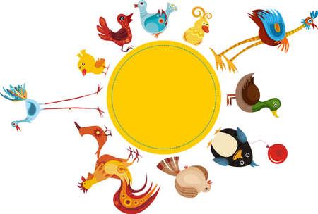 cock duck: bird set Illustration