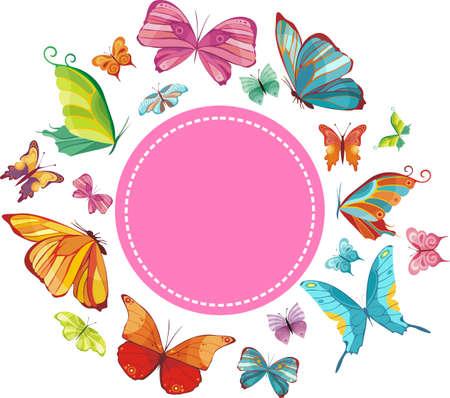 mariposas volando: tarjeta de primavera