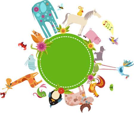 ¡rboles con pajaros: tarjeta de animal Vectores
