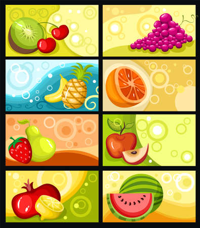 watermelon juice: fruit card set Illustration