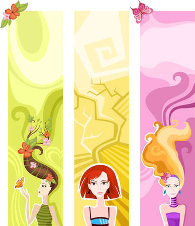 hairstyle card Vector