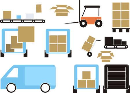 mail truck: delivering set Illustration