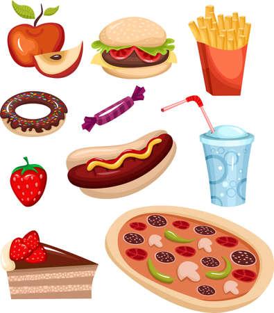 conjunto de comida rápida  Ilustración de vector