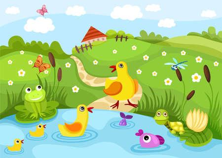 granja caricatura: estanque  Vectores