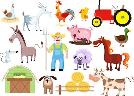 vaca caricatura: conjunto de granja