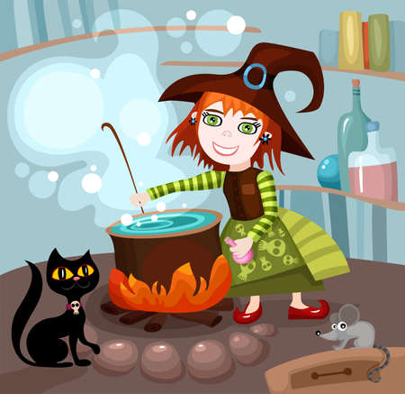 hearth and home: witch Illustration