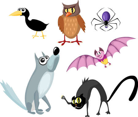 eagle owl: animals halloween set Illustration