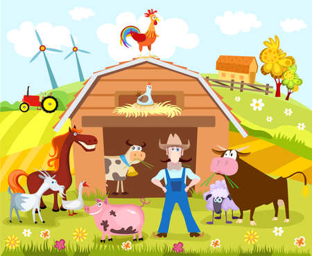 farm animal cartoon: farm Illustration