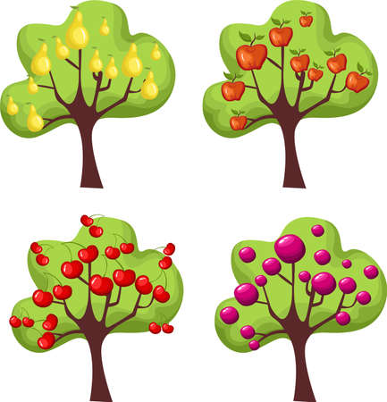 pears: trees set Illustration