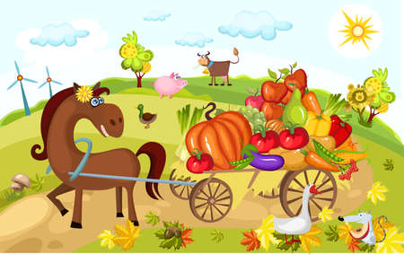harvest card Stock Vector - 7802599