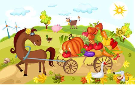 harvest card Stock Vector - 7802599