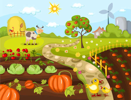 kitchen garden: harvest card Illustration