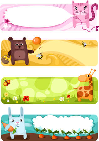 cute animal card set Illustration
