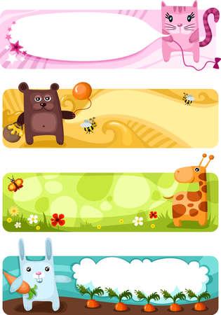 sevimli: cute animal card set Çizim