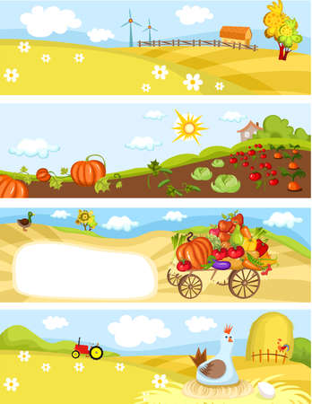 autumn vegetables: farm cards