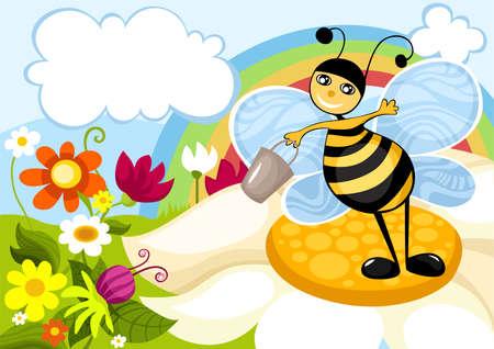 bee garden: tarjeta de primavera