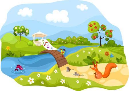 bridge in nature: spring card