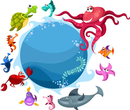 sea life card Stock Vector - 9642773