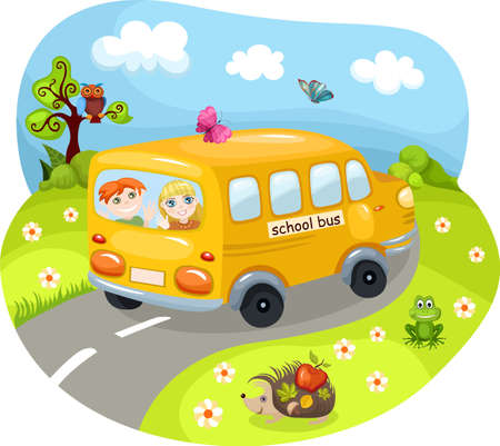 yellow schoolbus: Schoolbus Illustration