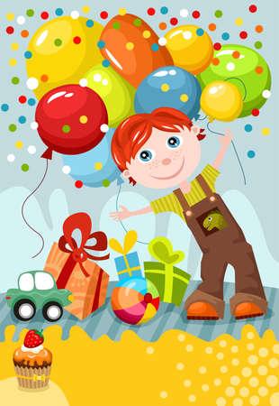 pink balloons: birthday card Illustration