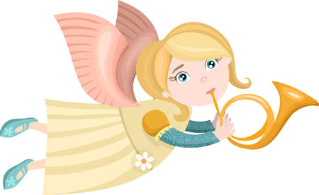 flying hair: christmas angel Illustration
