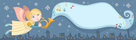 angel hair: tarjeta de Navidad Vectores