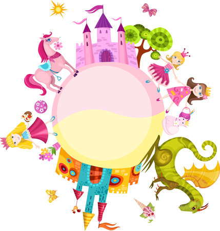 birthday cartoon: princess set Illustration