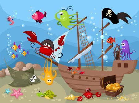 barco pirata: mar la vida Vectores