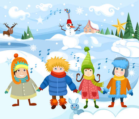 winter clothes: children Illustration