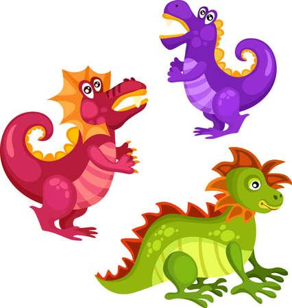 dinosaurio caricatura: dragón conjunto Vectores