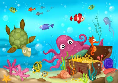 fond marin: la vie de la mer Banque d'images