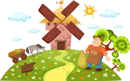 moinhos de vento: moinho de vento Ilustração