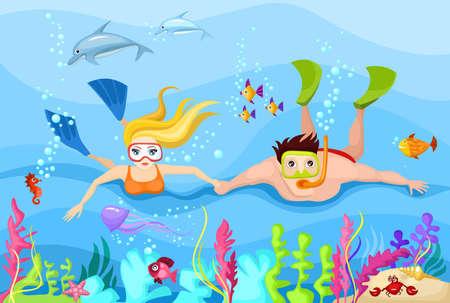 delfin: nurkowanie Ilustracja