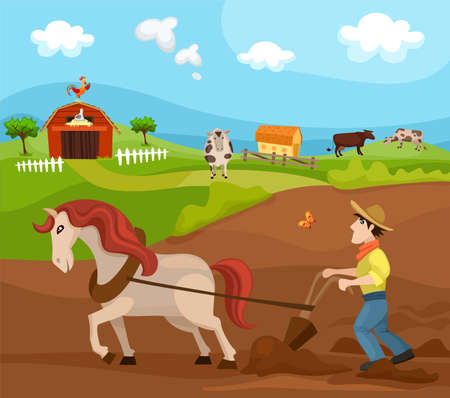 wheat grass: farm Illustration