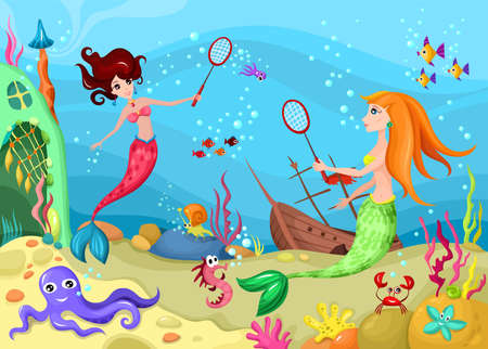 mermaid: sea life Illustration