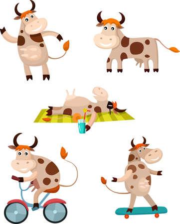 vaca caricatura: conjunto de vaca