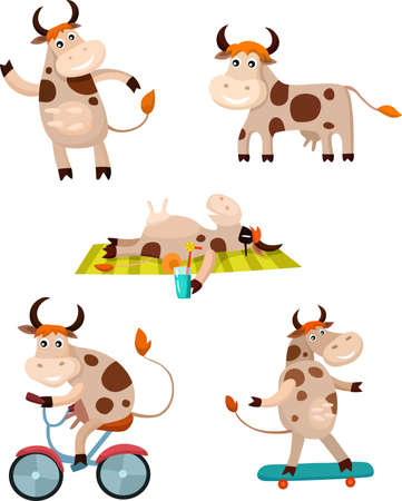 bovine: cow set Illustration