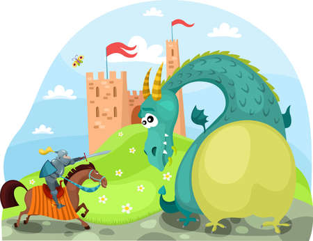 fantasy castle: dragon and knight